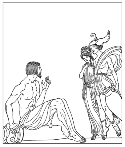 406x480 Epimetheus, Golden Maid And Hermes Coloring Page Free Printable