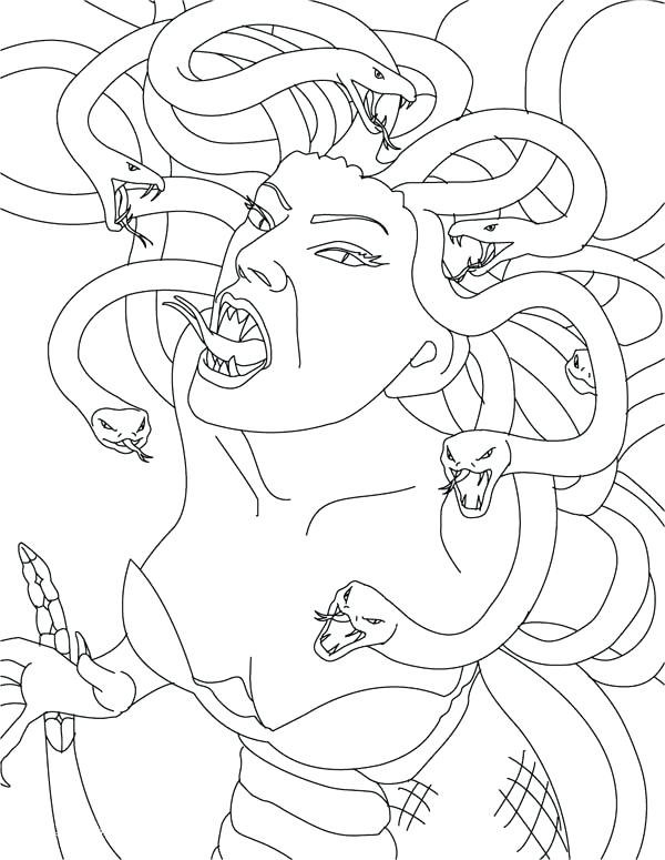 600x775 Greek Mythology Coloring Pages Medusa The Gorgon Is Angry Coloring