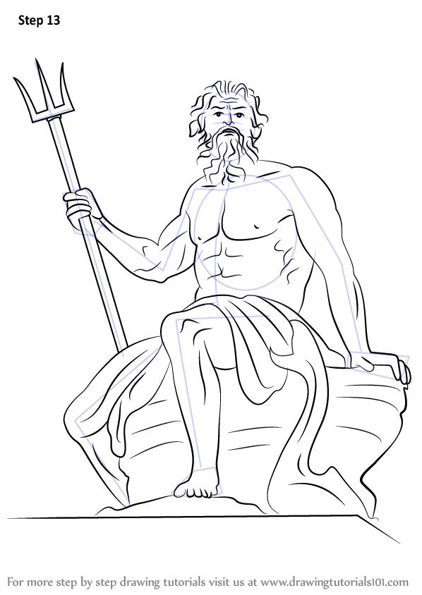 598x844 Learn How To Draw Poseidon (Greek Mythology) Step By Step