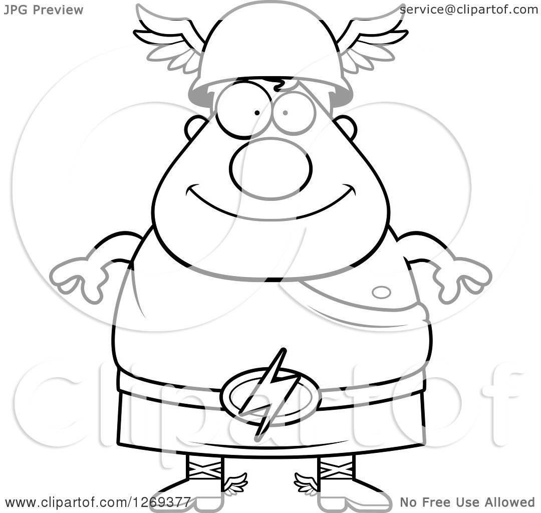 1080x1024 Clipart Of A Black And White Cartoon Happy Chubby Greek Olympian