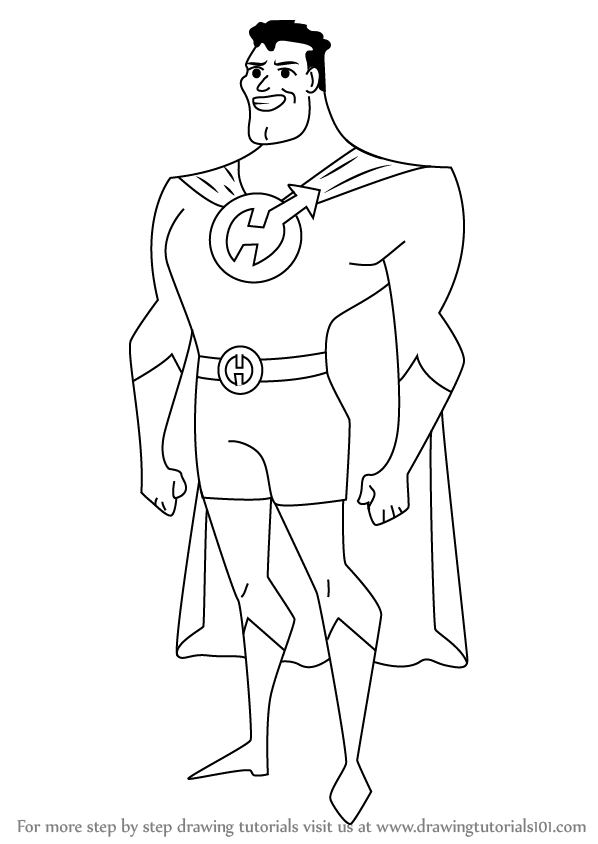 598x844 Learn How To Draw Captain Hero From Drawn Together (Drawn Together