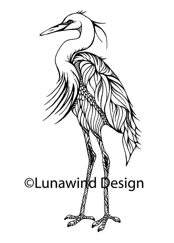 570x795 Heron Crane Bird Artwork Coloring Nursery Design Children Art