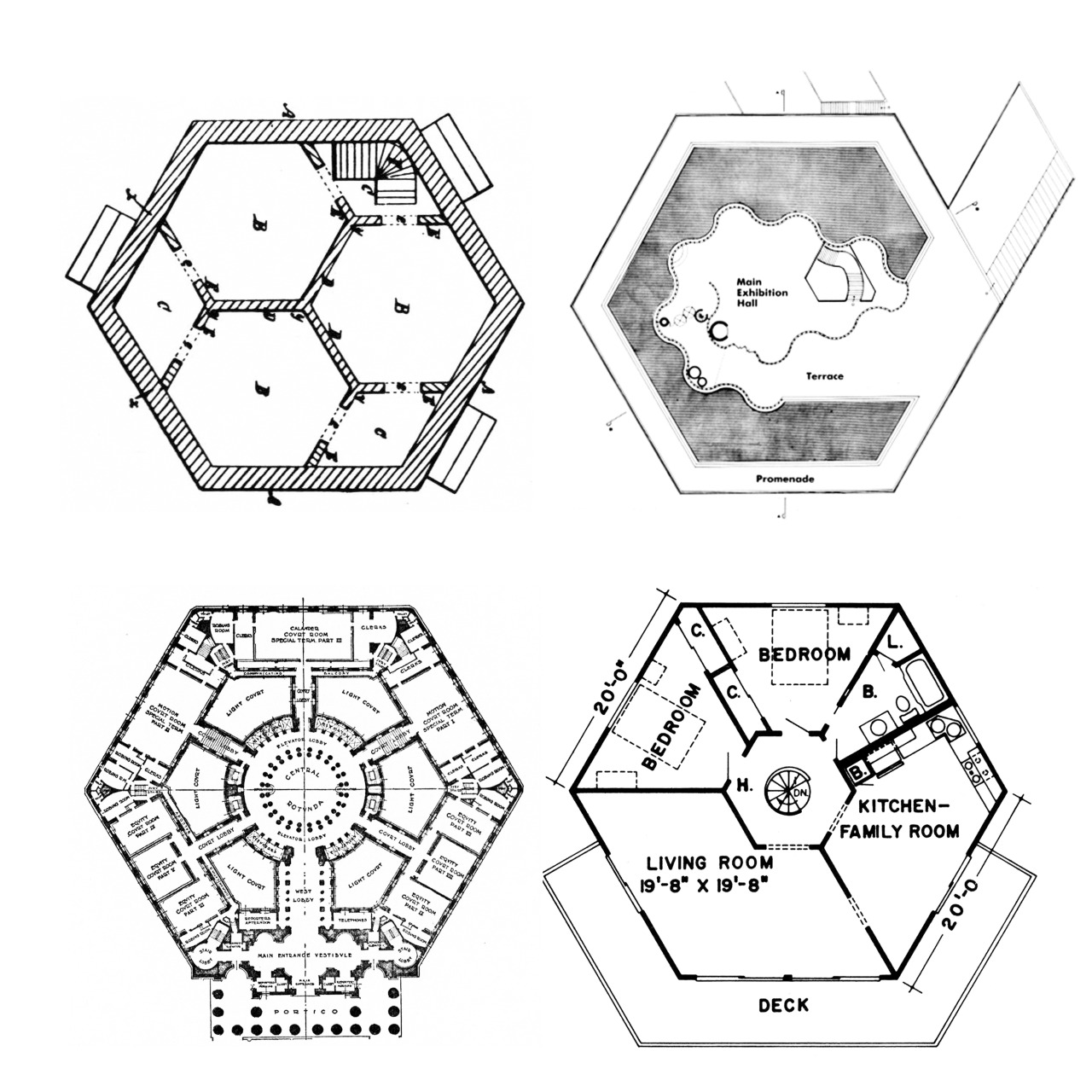 1280x1280 Hexagon Plans From Left To Right Harriet Irwin, Hexagonal