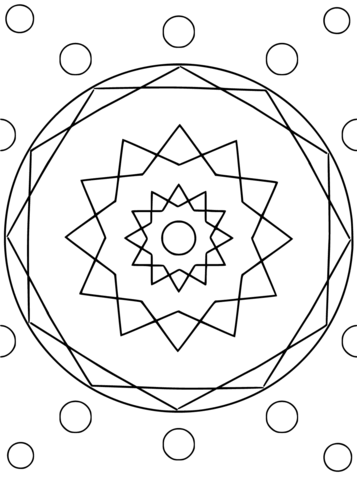 357x480 Mandala With Hexagon And Circles Coloring Page Free Printable