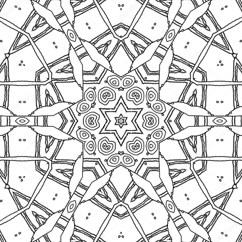 1024x1024 Coloring Page Mandala Star And Hexagon Ornament Stock Photo Ur