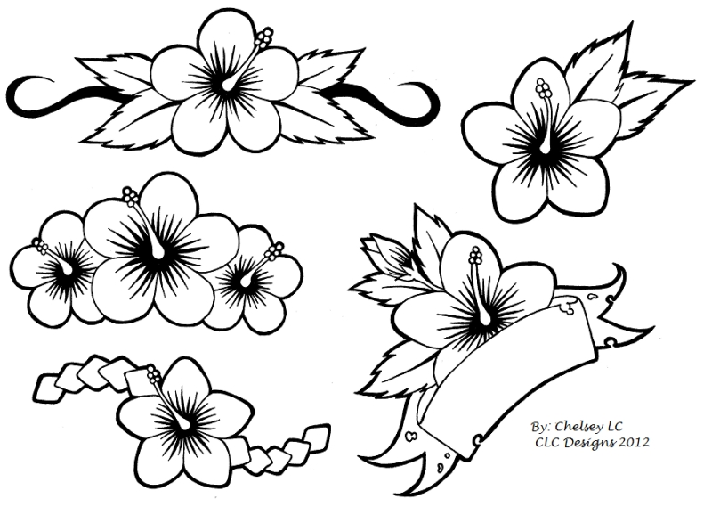 800x569 Simple Hibiscus Flowers Tattoo Designs