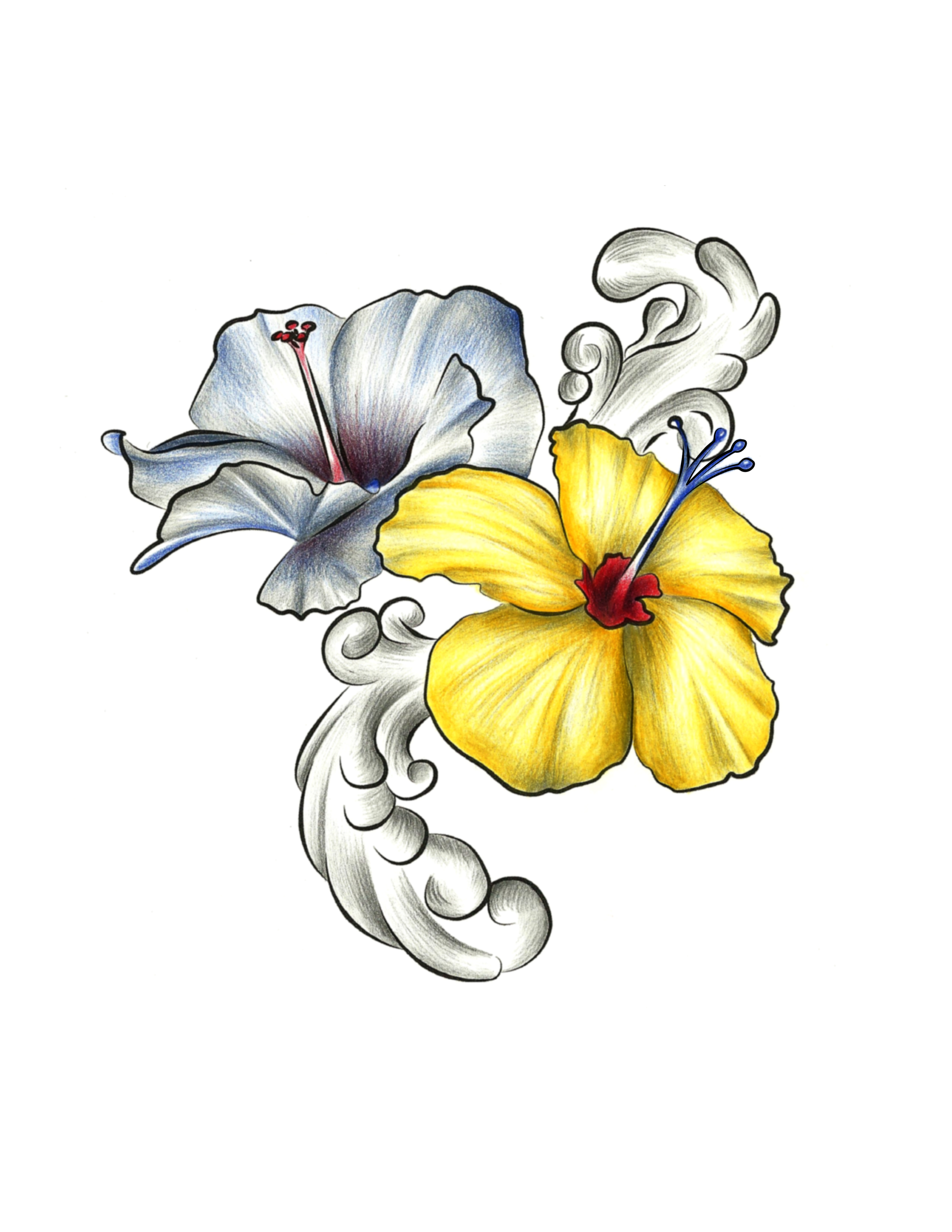 2550x3300 Collection Of Hibiscus Tattoo Drawing