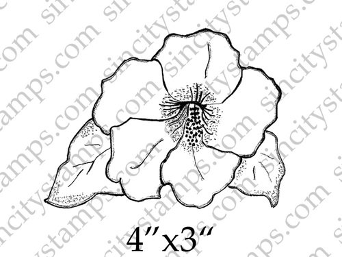 500x375 Hibiscus Line Drawing Flower Art Rubber Stamp By Daniella Hayes