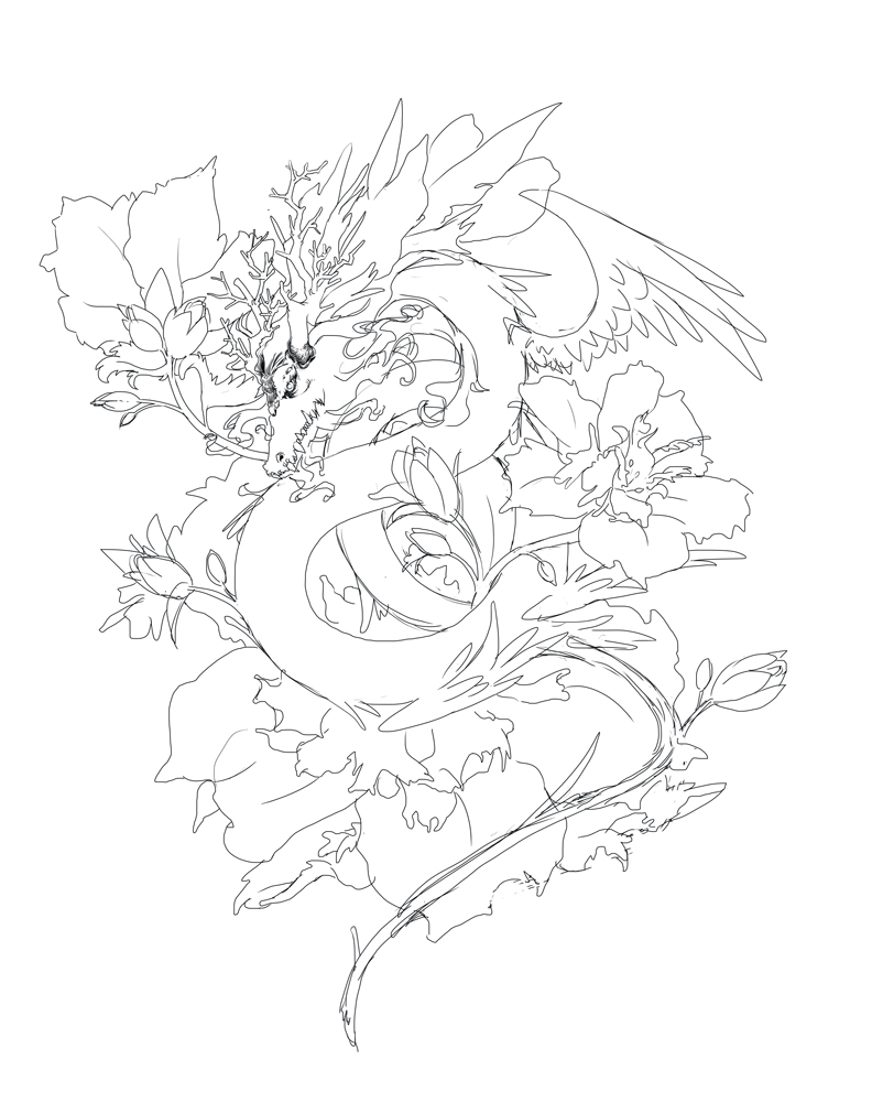 792x1000 Hibiscus Dragon Tattoo Wip By Pencil This