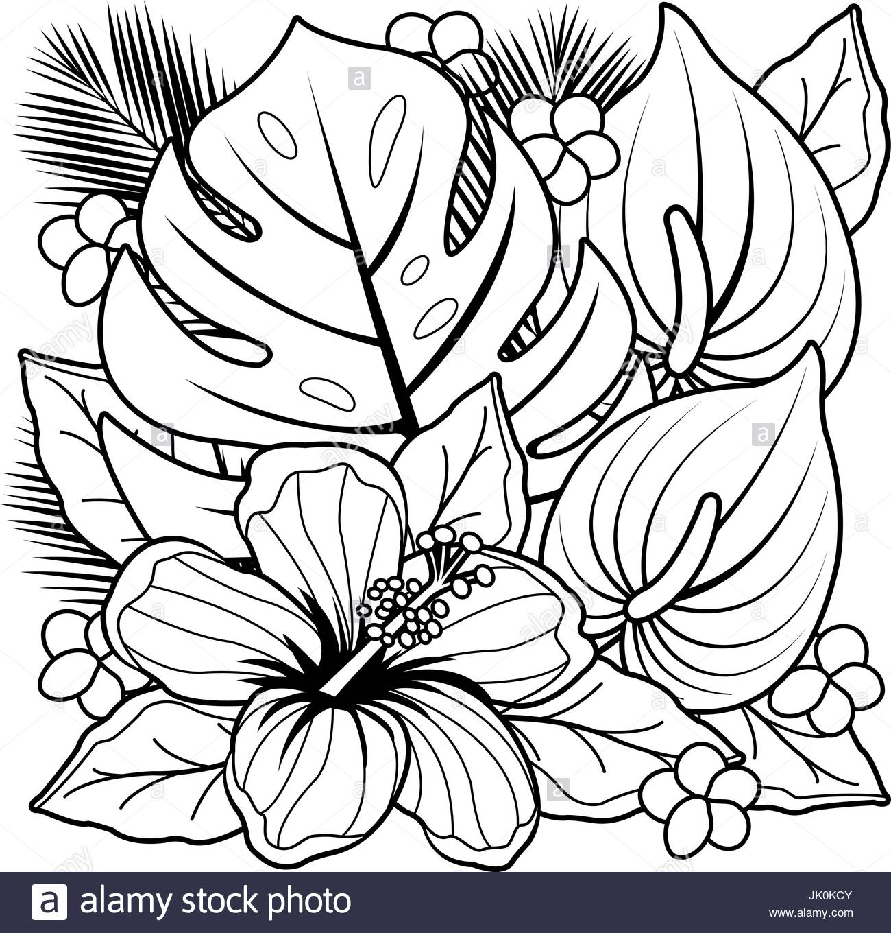 1300x1360 Tropical Plants And Hibiscus Flowers. Black And White Coloring