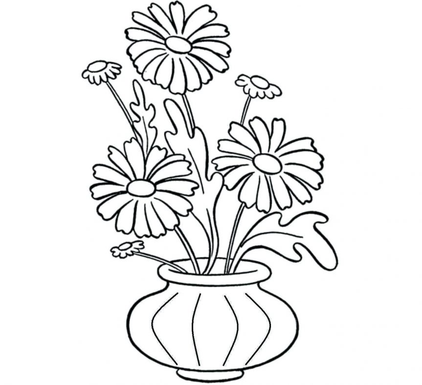 863x788 Vase And Flower Template Drawing Printable Paper Templates