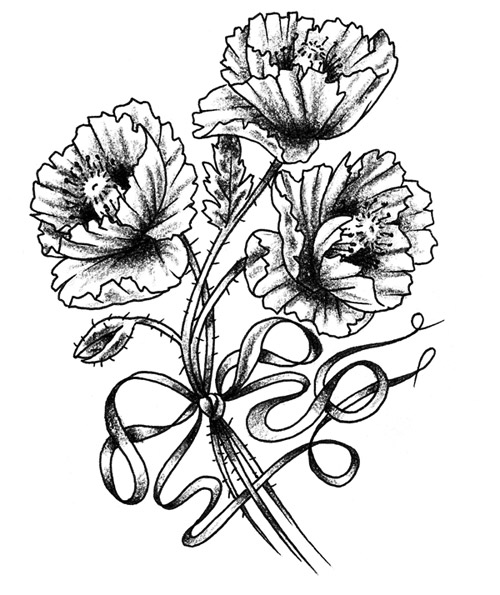 500x595 Flowers Drawing Tattoo