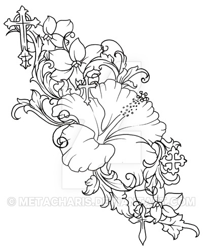 400x493 Hibiscus Flower Tattoo By Metacharis