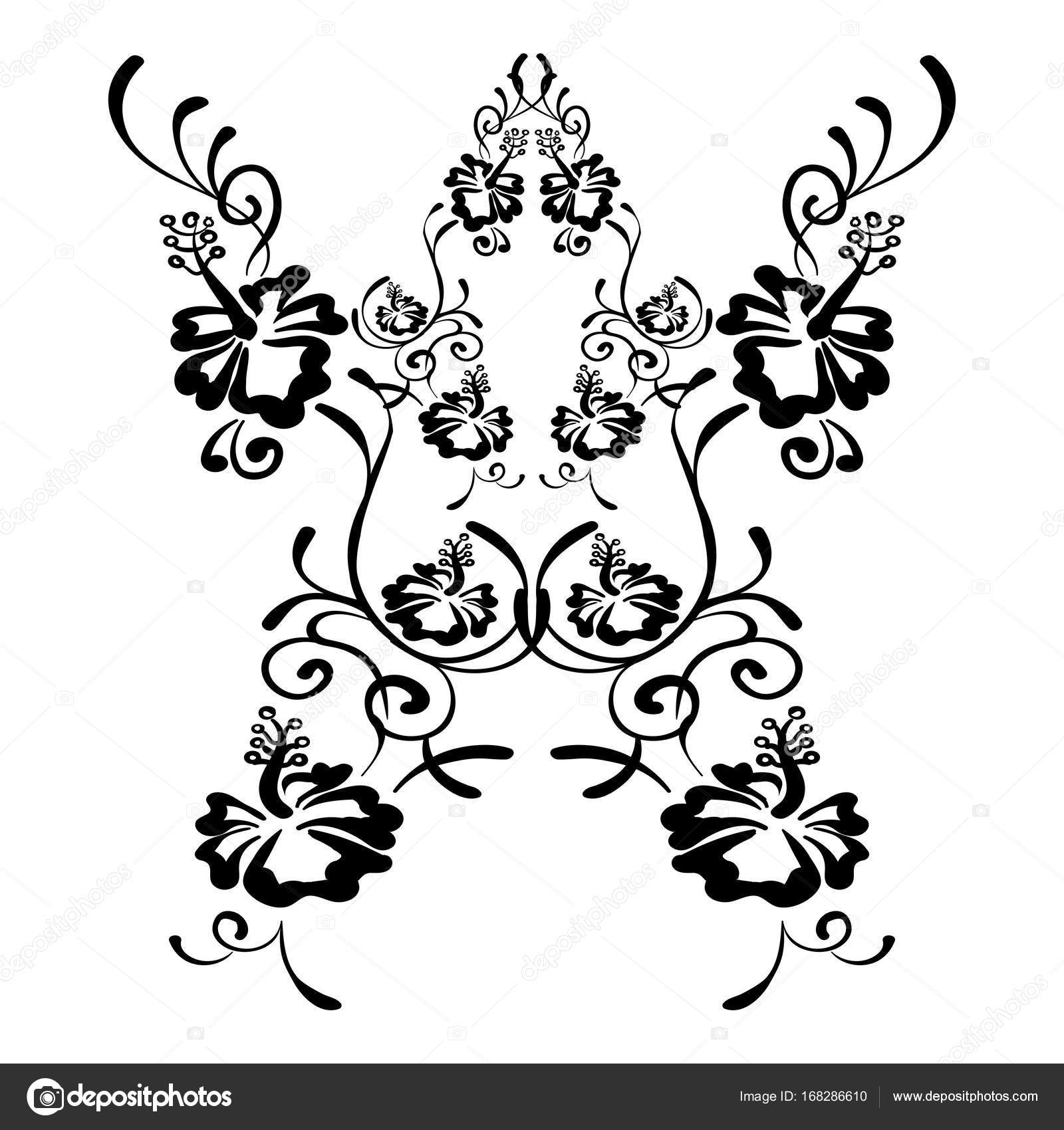 1600x1700 Hibiscus Flowers Drawing And Sketch With Line Art Stock Vector