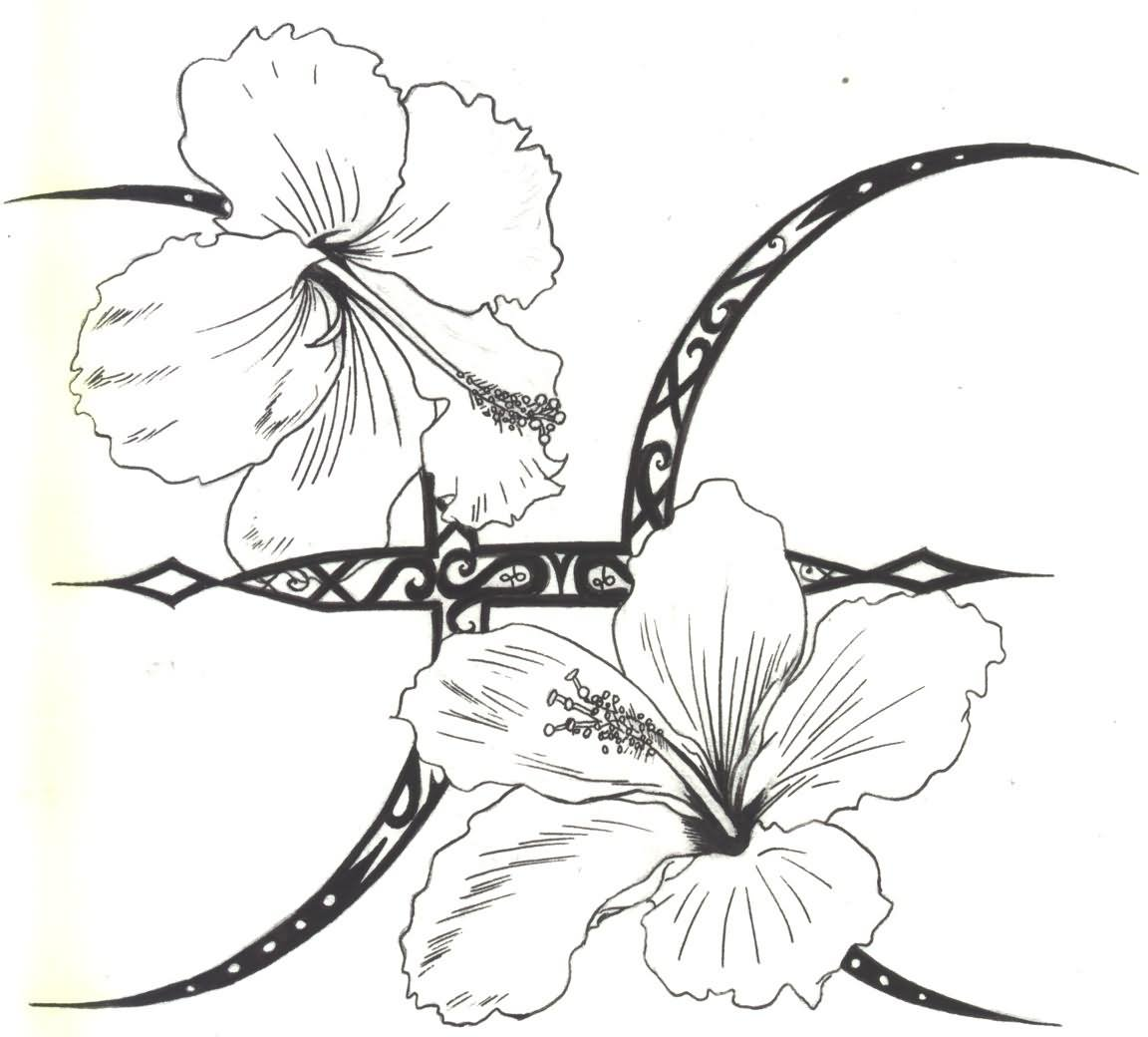 1152x1040 Pisces And Hibiscus Tattoo Design By D Angeline
