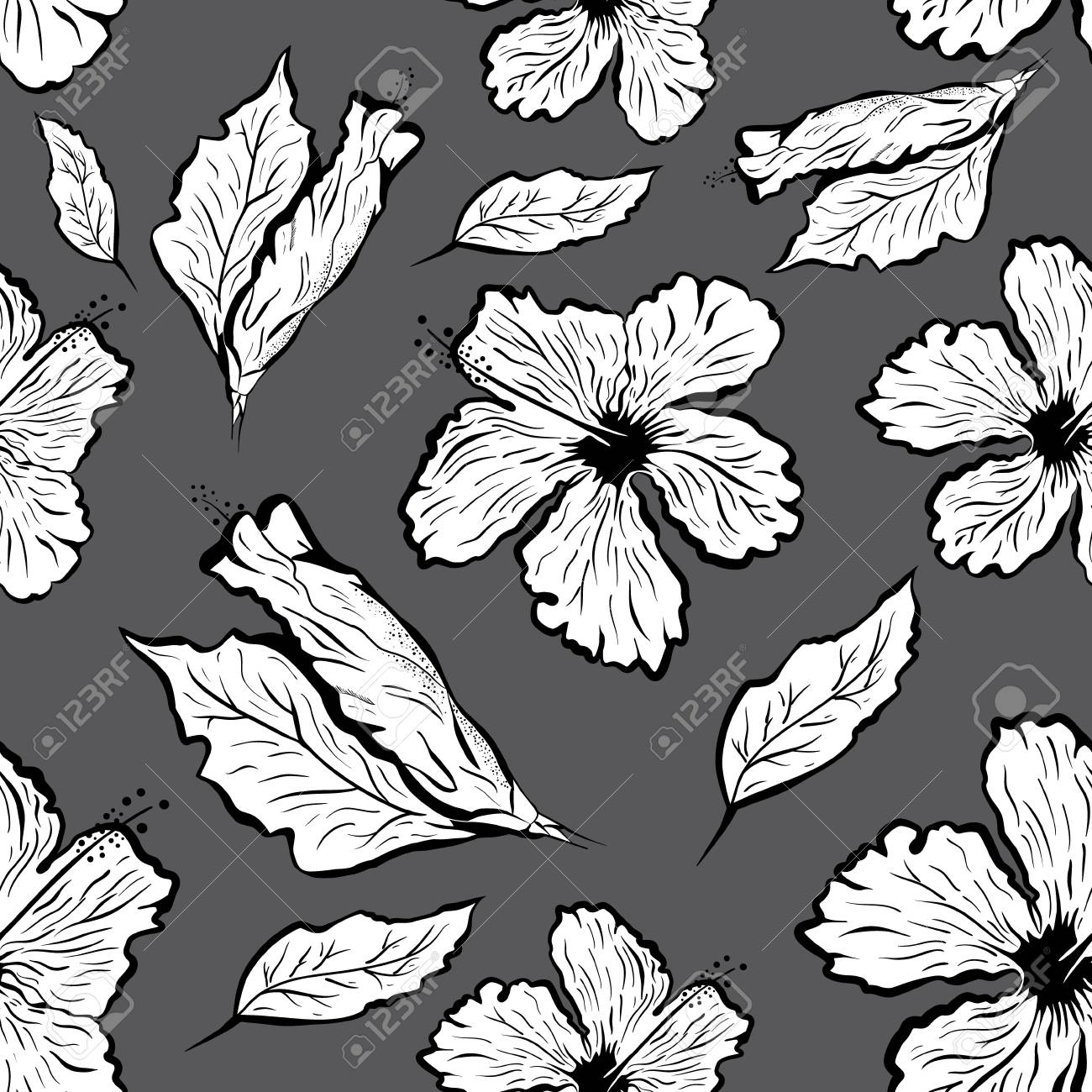 1300x1300 Seamless Pattern Of Hibiscus Flower In Tattoo Style. Black