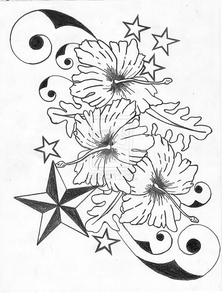 778x1024 Black And White Hibiscus Flower Tattoos Black And White Hibiscus