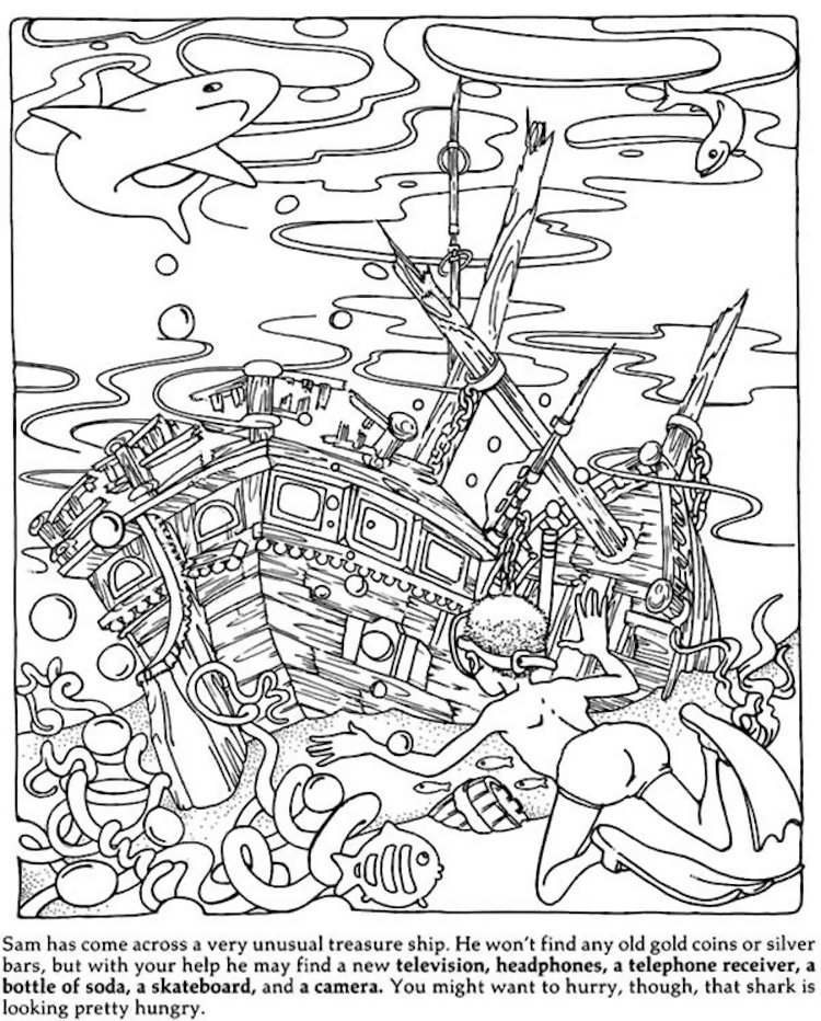 750x932 Dover Hidden Objects Coloring Page Kids All Ages Color