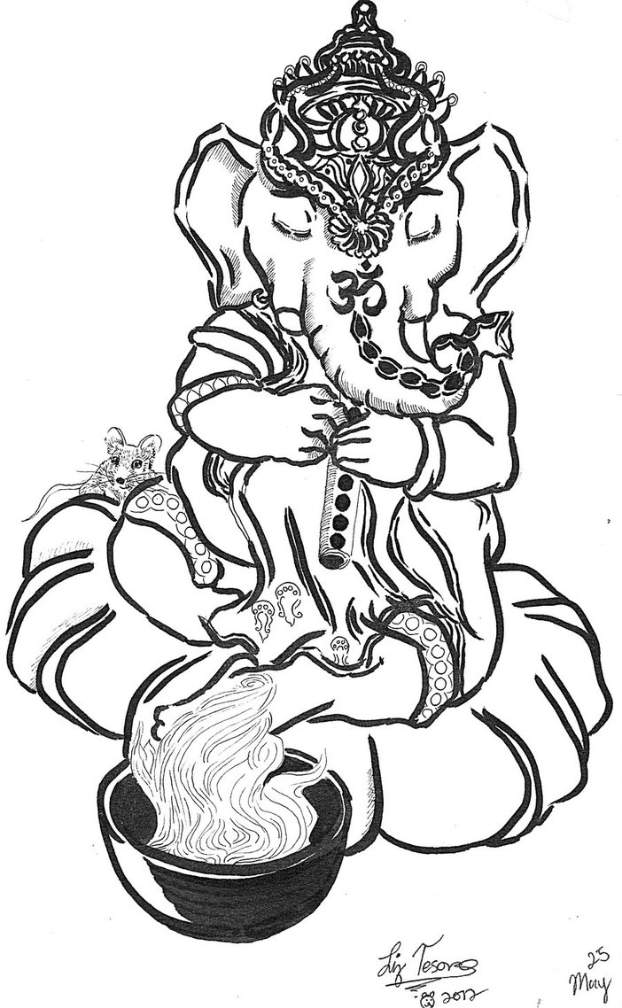 702x1138 Ganesha Plays Flute With Incense By Hidden By Art