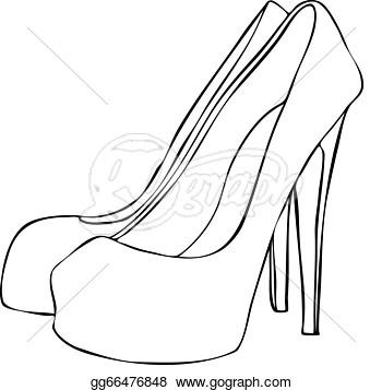 350x357 High Heel Outline Clipart
