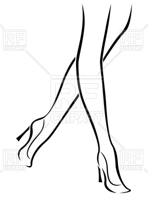 300x400 Outline Of The Slender Woman's Legs In High Heels Royalty Free