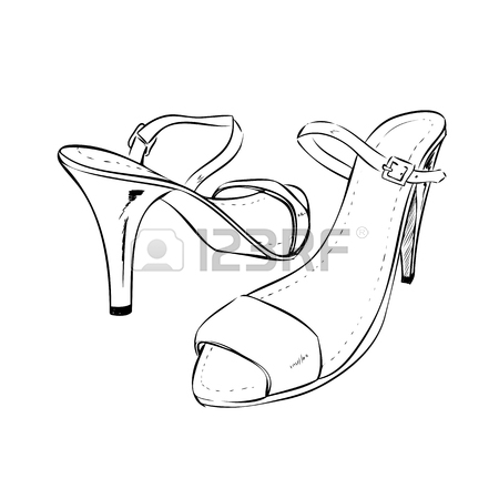 450x450 Pair Of Elegant Woman Shoes. Court Shoes On High Heels. Hand