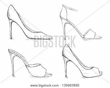450x357 Shoes Sketch Set. High Heels Women Vector Amp Photo Bigstock