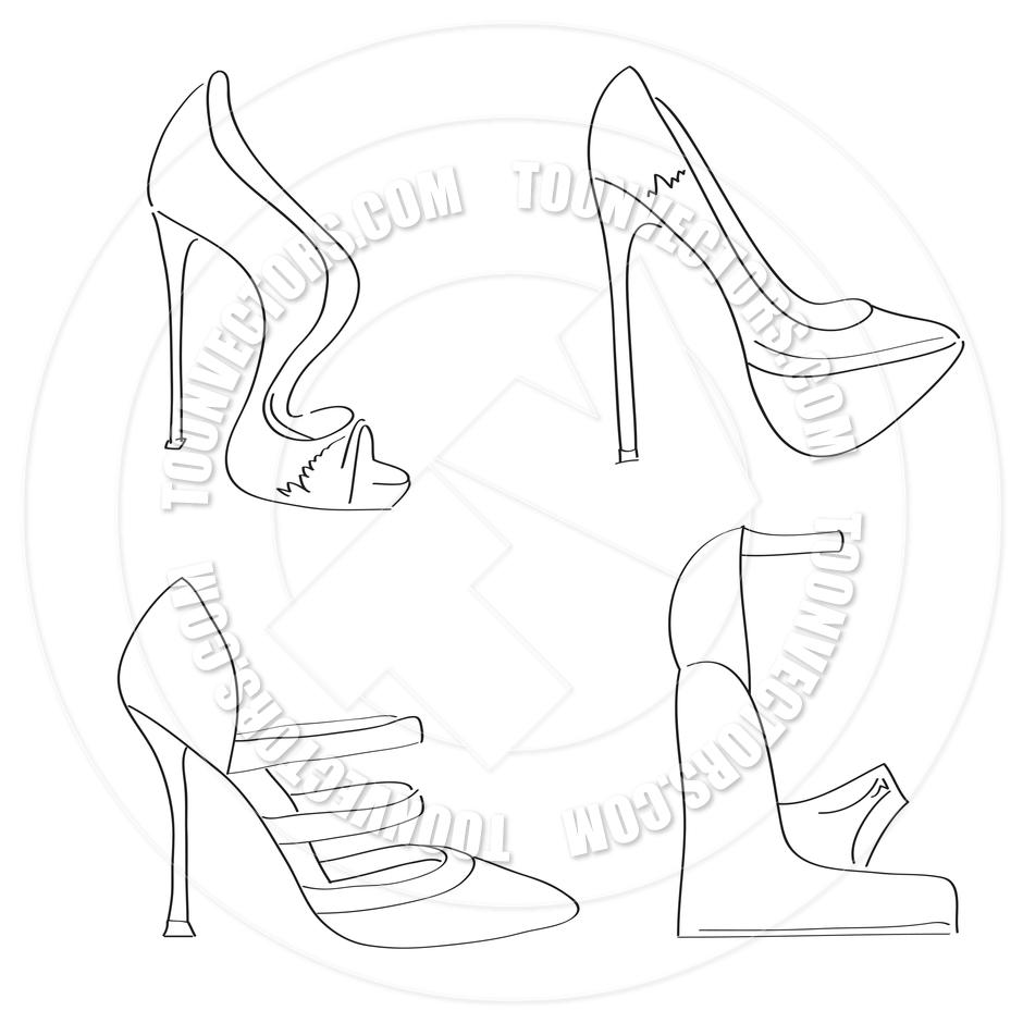 940x940 Women's High Heel Shoe Set By Claudia Balasoiu Toon Vectors Eps