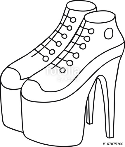 428x500 High Heel Louboutin Platform Sneakers Women Hand Drawn Doodle