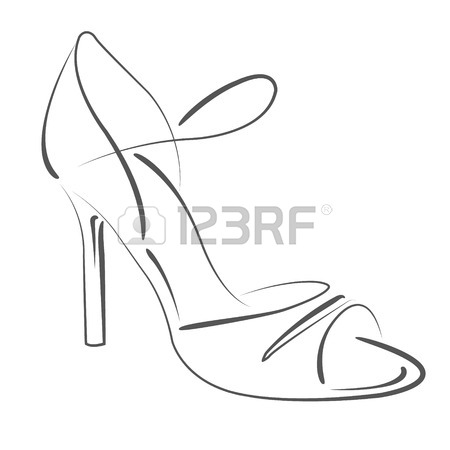 450x450 Elegant Sketched Woman S Shoe. Salsa Dance Shoes. Design Template