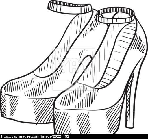 512x481 High Heeled Shoes Sketch Vector