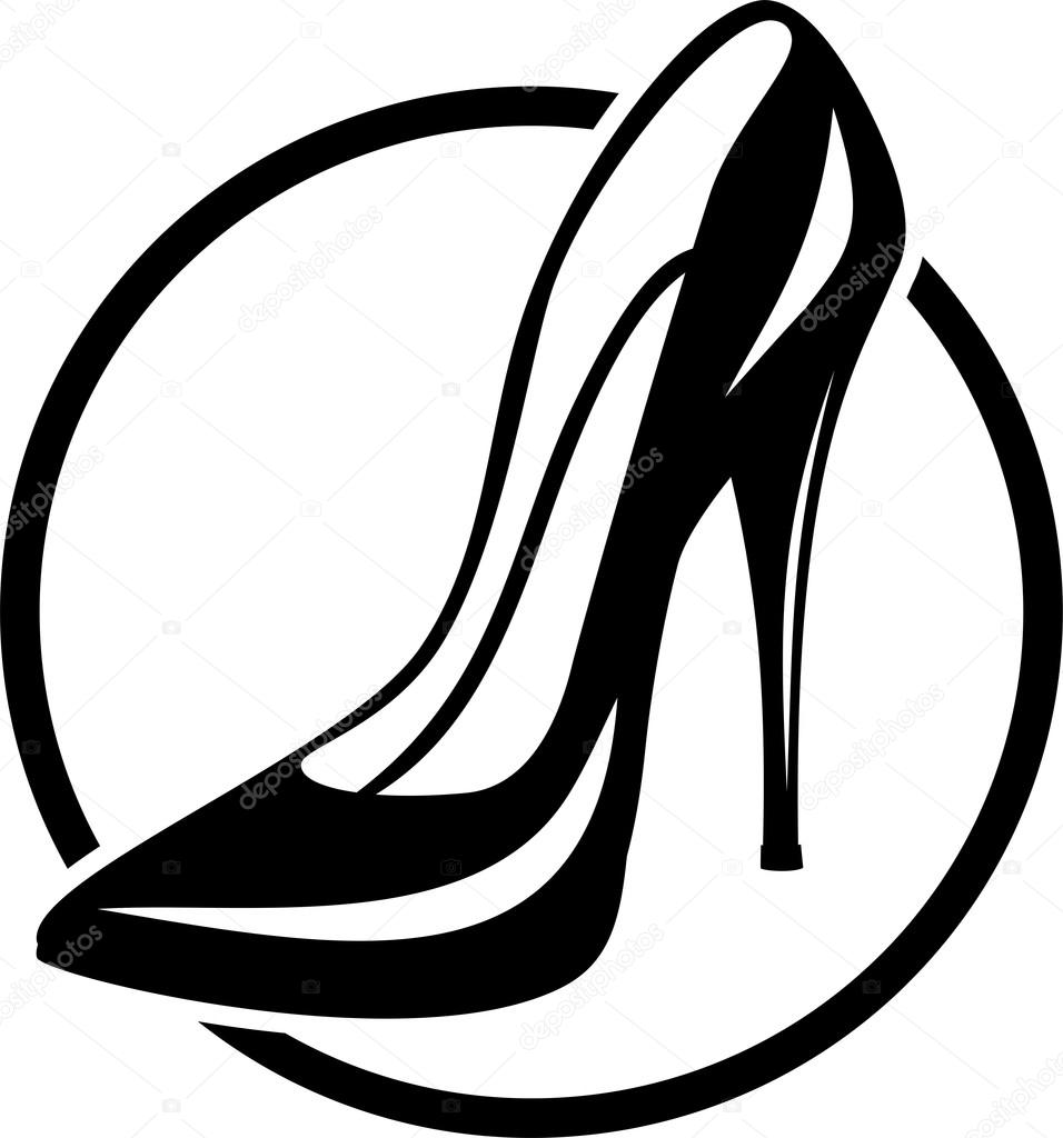 956x1024 Sign Female Shoe High Heels Black Circle Stock Vector
