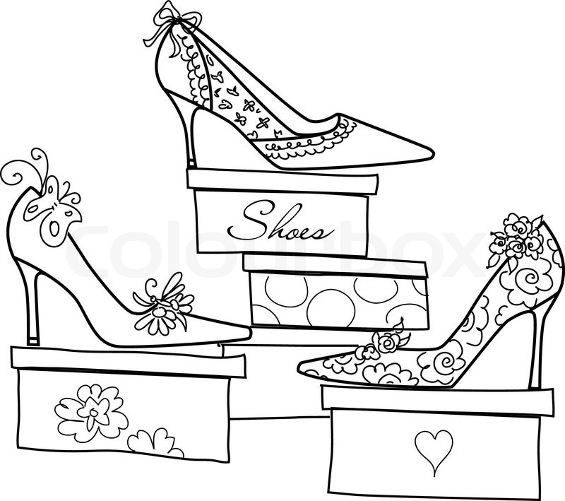 800x709 Girls Love Shoes Stock Vector Colourbox