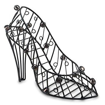 355x355 7.5 Inch Decorative Wire High Heel Shoe Bottle Holder, Black