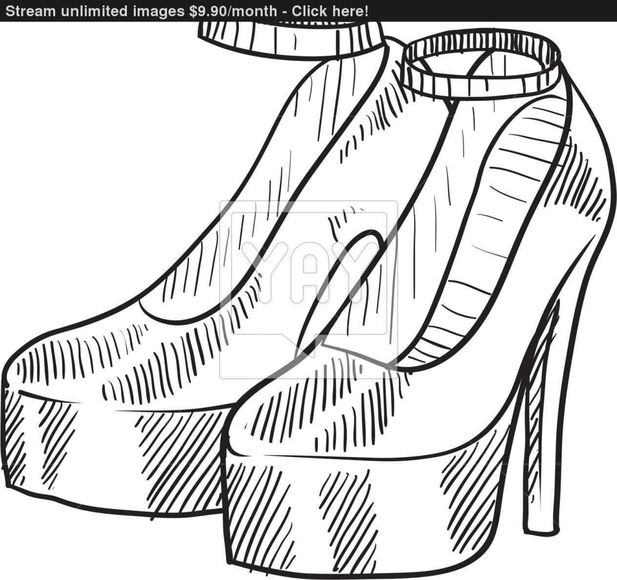 1264x1188 High Heel Shoes Sketch