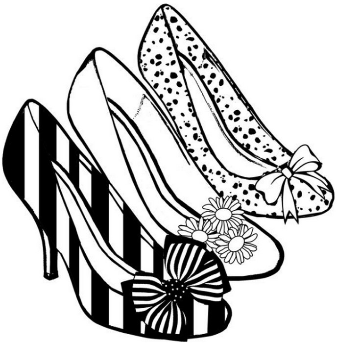 690x700 Adult Coloring Page Shoes High Heels 11