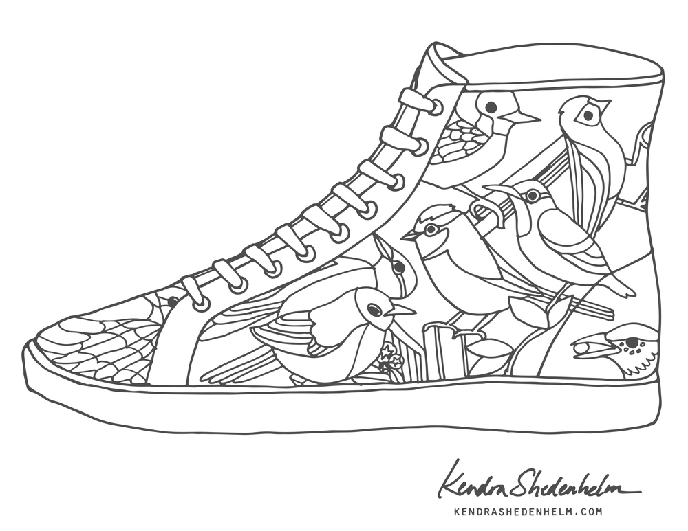 1000x773 Birds, Doodles, Shoes And Free Coloring Pages! Kendra Shedenhelm