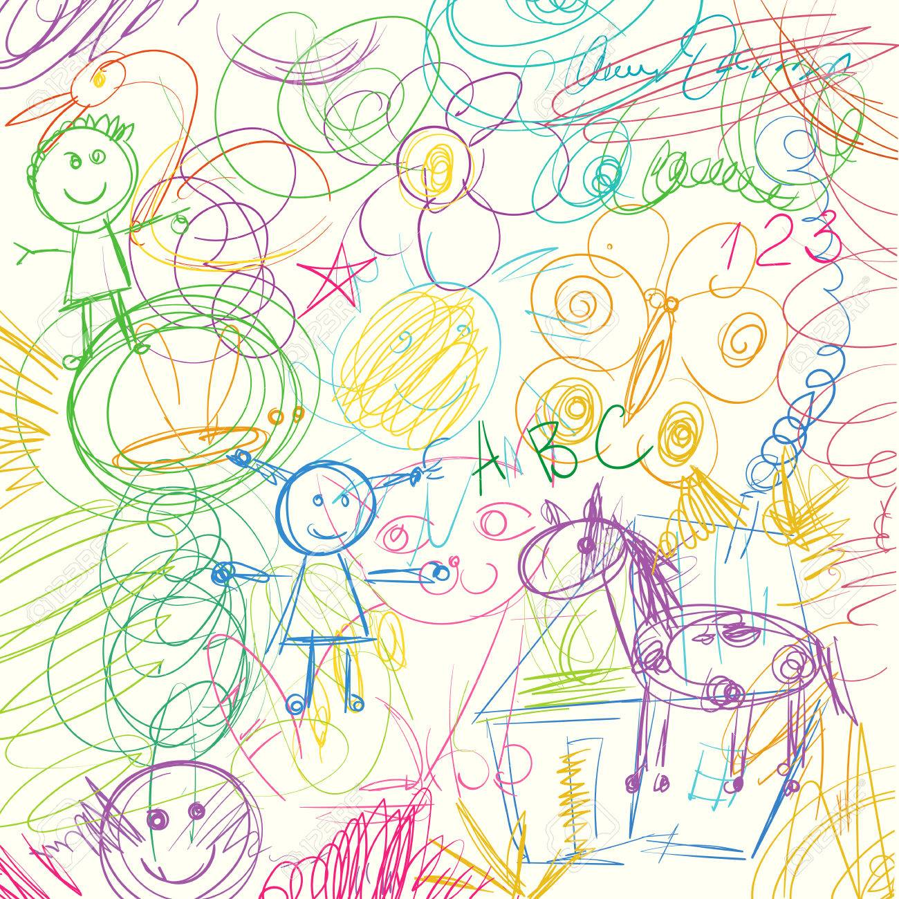1300x1300 Children Doodle. Colored Pencils Scribbles Made By A Little Kid