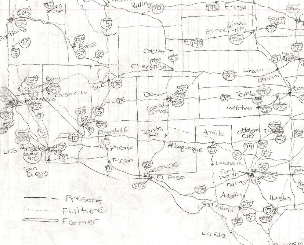996x802 My Drawing Of The Interstate Highway System (West) By Yoshiluigi45