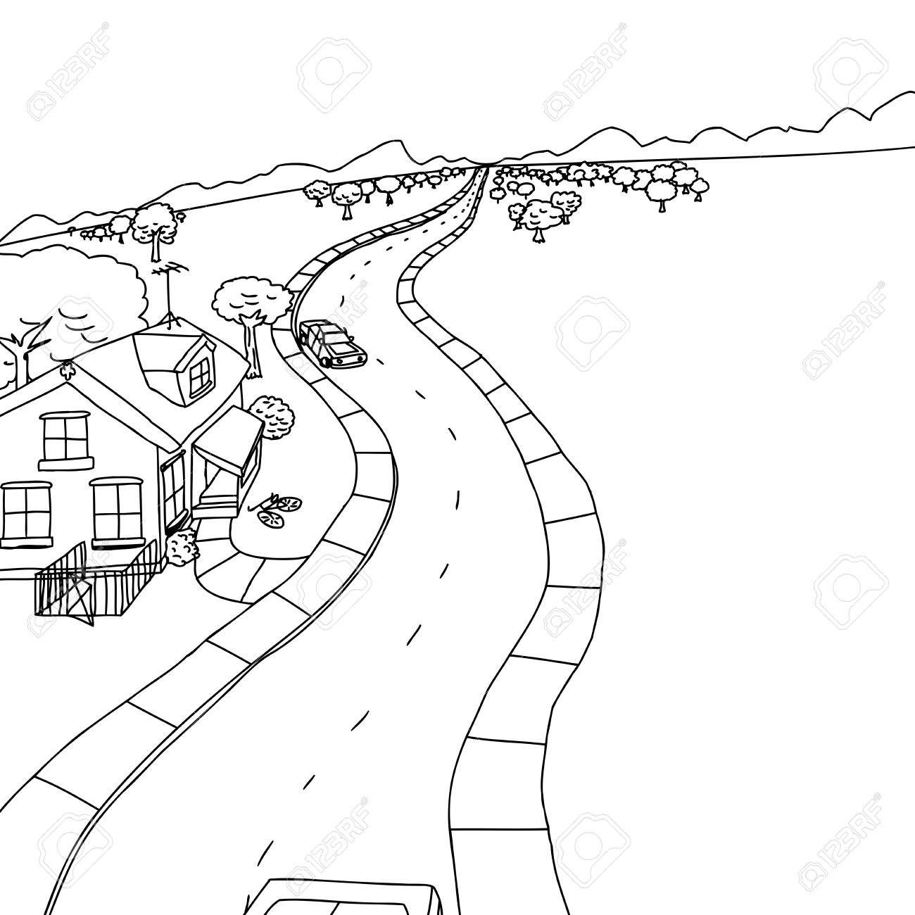 1300x1300 Outline Drawing Of House With Trees Along Road Royalty Free