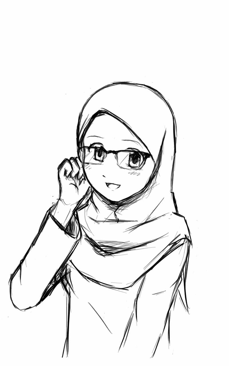 800x1280 Girl Wearing Hijab Drawing Digital Drawing] Hijab Girl