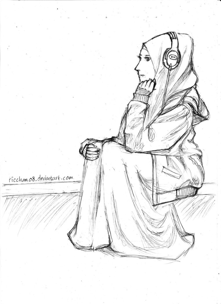763x1048 Hijab Anime Listening Music (Sketch) By Ricchan08