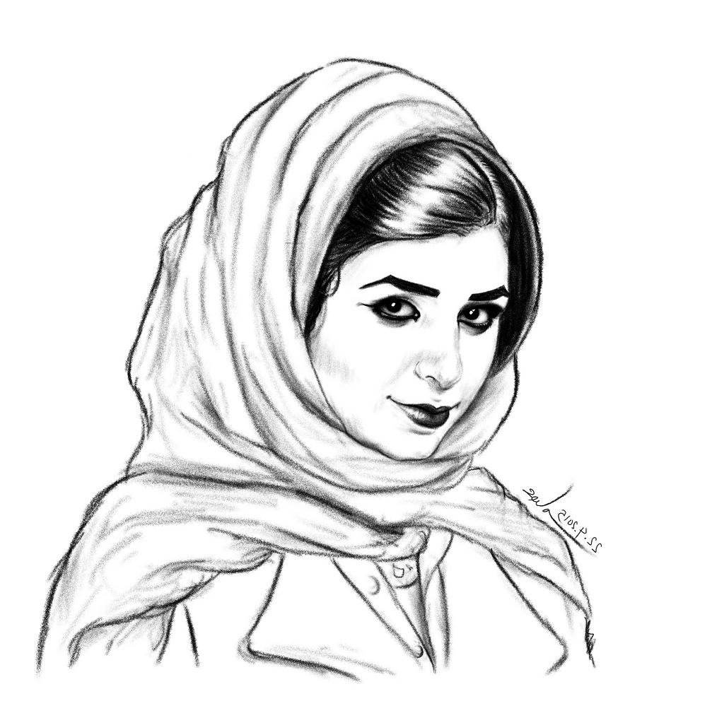 1024x992 pencil drawing real hijab girl