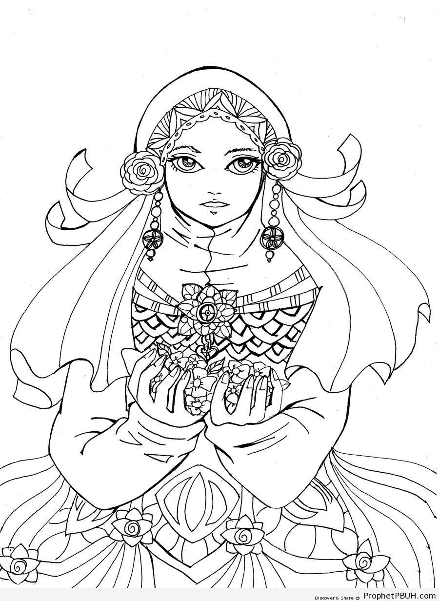 900x1232 Flower Decorated Hijab Line Drawing Drawings Prophet Pbuh