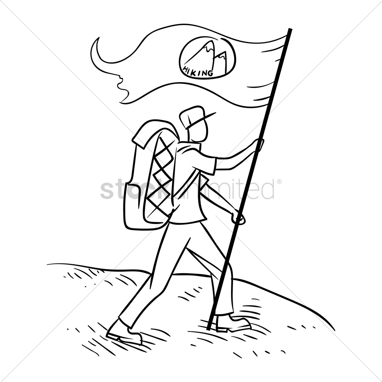 1300x1300 Free Hiker With The Flag Vector Image