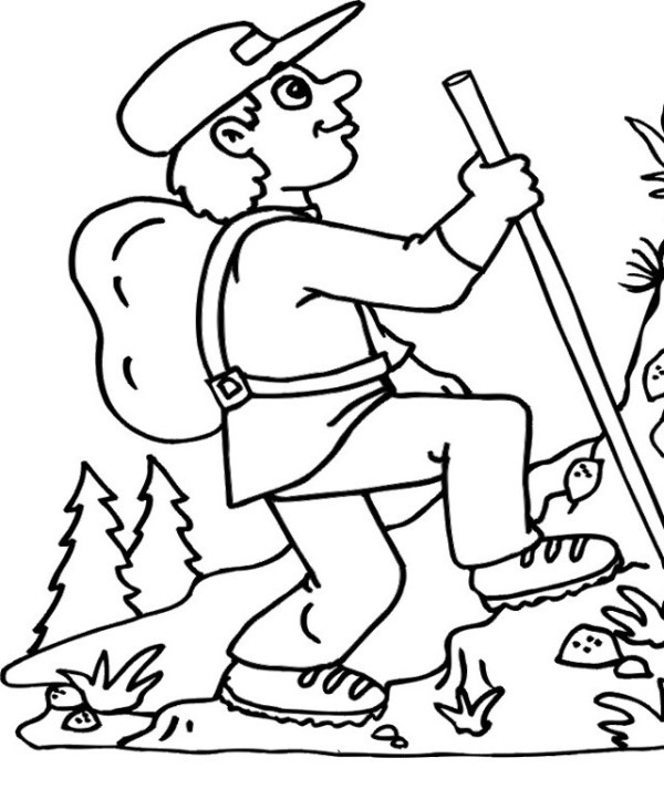 600x713 Hiking The Mountain In Summer Coloring Page For Kids Puggles