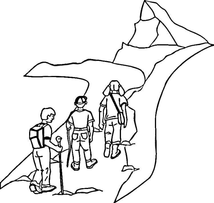 750x711 Mountain Hiking Camp Coloring Page