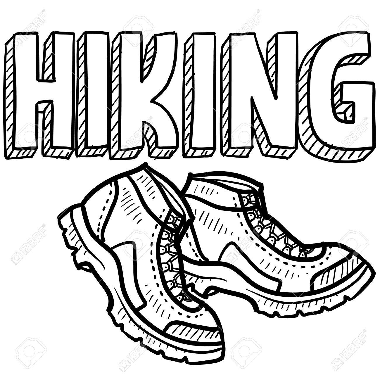 1300x1300 Doodle Style Hiking Outdoor Sports Illustration Includes Text