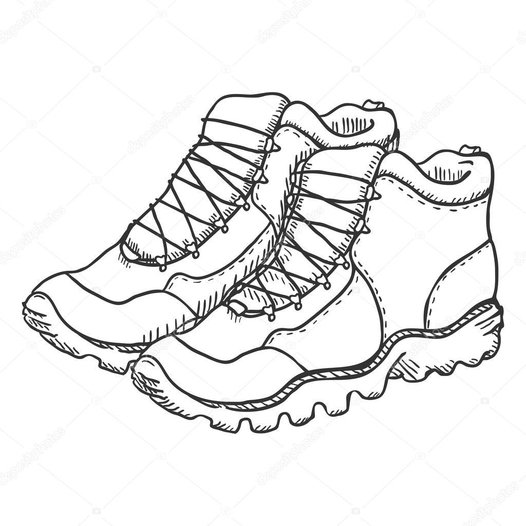 1024x1024 Extreme Hiking Boots Stock Vector Nikiteev