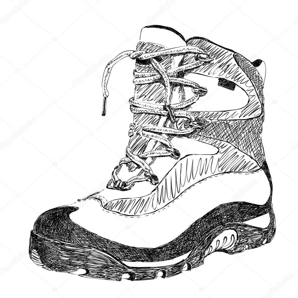 1024x1024 Hand Drawn Doodle Hiking Boot Stock Vector Olgatropinina